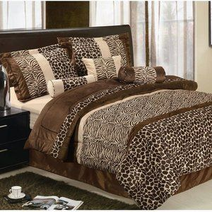 LaCozee Safari Micro Fur Bed in a Bag Set in Brown love it all of my fav animal prints in one