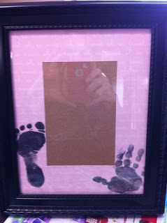 "Picture frame ""matting"" DIY with baby  hand and foot prints"