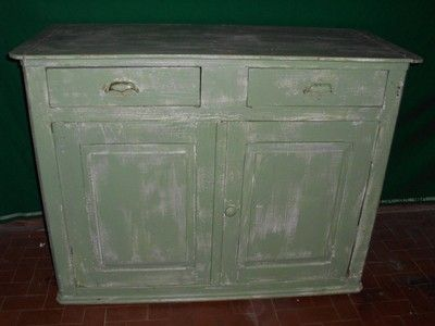 CREDENZA IN MASSELLO DECAPATA IN VERDE PROVENZALE DI EPOCA PRIMI 900'  €249.00