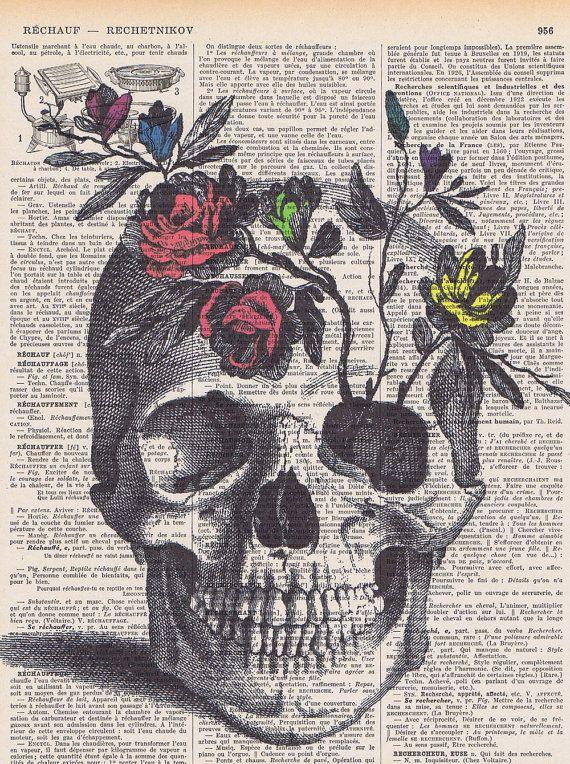 RoseSkullflowersskeleton HeadColourAntique French Book Page Print