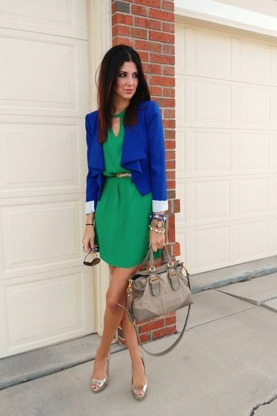 i'd look this polished everyday | Green dress outfit, Style, Blue dress outfits
