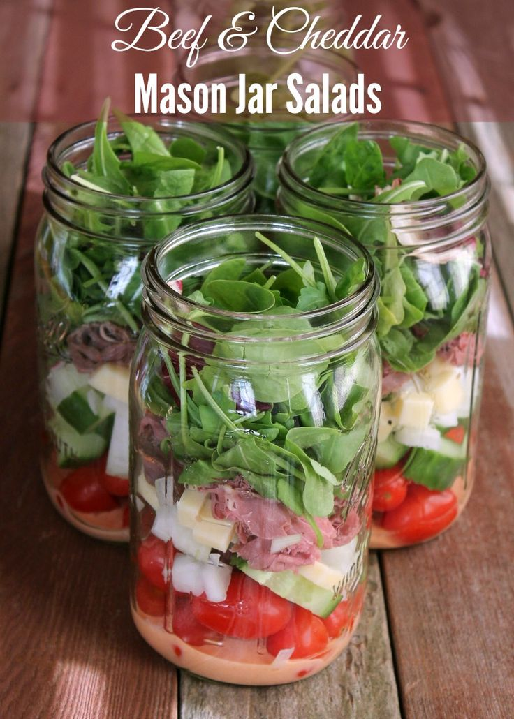 Beef and Cheddar Mason Jar Salad. Salad in a Jar.