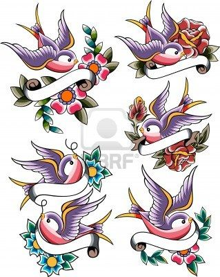 Swallow Tattoo Set Royalty Free Cliparts, Vectors, And Stock Illustration. Image 10308168.
