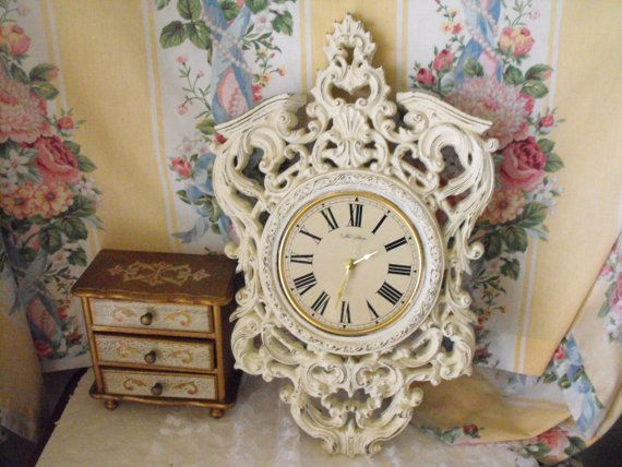 Large Vintage Wall Clock  Syroco  RARE  by fancyschmancyvintage