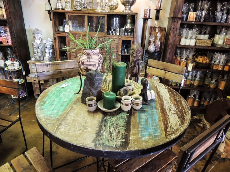 Reclaimed wood round top table & matching chairs! #fall #outdoor #picnic #garden #patio #outside #BBQ #candles #furniture #accessories #homedecor #decor #decorationideas #interiordesignideas #interiordesign #teal #Phoenix #Tempe #Scottsdale #Arizona #AZ #rustic #antique #luxury #luxe #gifts #giftstore #furniturestore #votive #candleholder