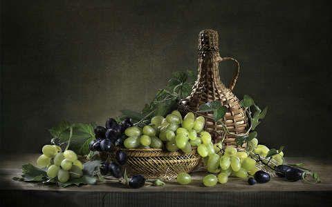 bor csendélet gyümölcs ital