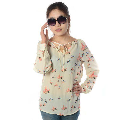 Damen Sommerkleid Casual Top Langarm Halteseil Bluse Chiffon Blume Print Shirt M