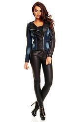Jacket Jeans/Leder Miss Sissi MS-2016 dark blue-bl