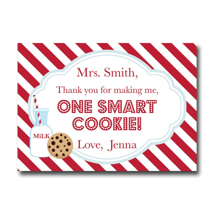 It's just a graphic of Smart Thanks for Making Me One Smart Cookie Free Printable