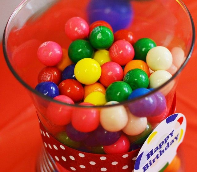 Gumballs in a jar at a bouncy ball boy birthday party!  See more party ideas at CatchMyParty.com!