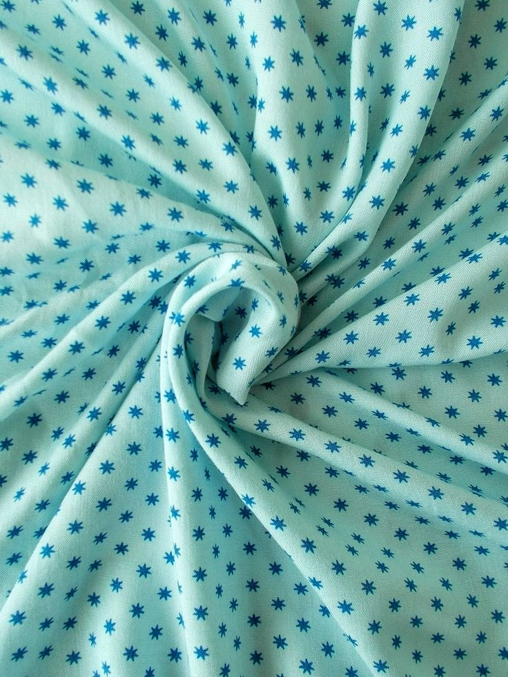 Vintage Soft Cotton Dress Fabric - 1960's/1970's - Blue stars on an ice blue background  - 1 piece - Unused