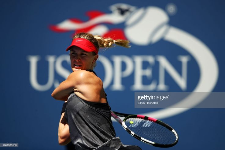 Eugenie Bouchard of Canada reacts against Evgeniya Rodina of Russia during their first round Women's Singles match on Day Three of the 2017 US Open at the USTA Billie Jean King National Tennis Center on August 30, 2017 in the Flushing neighborhood of the Queens borough of New York City.