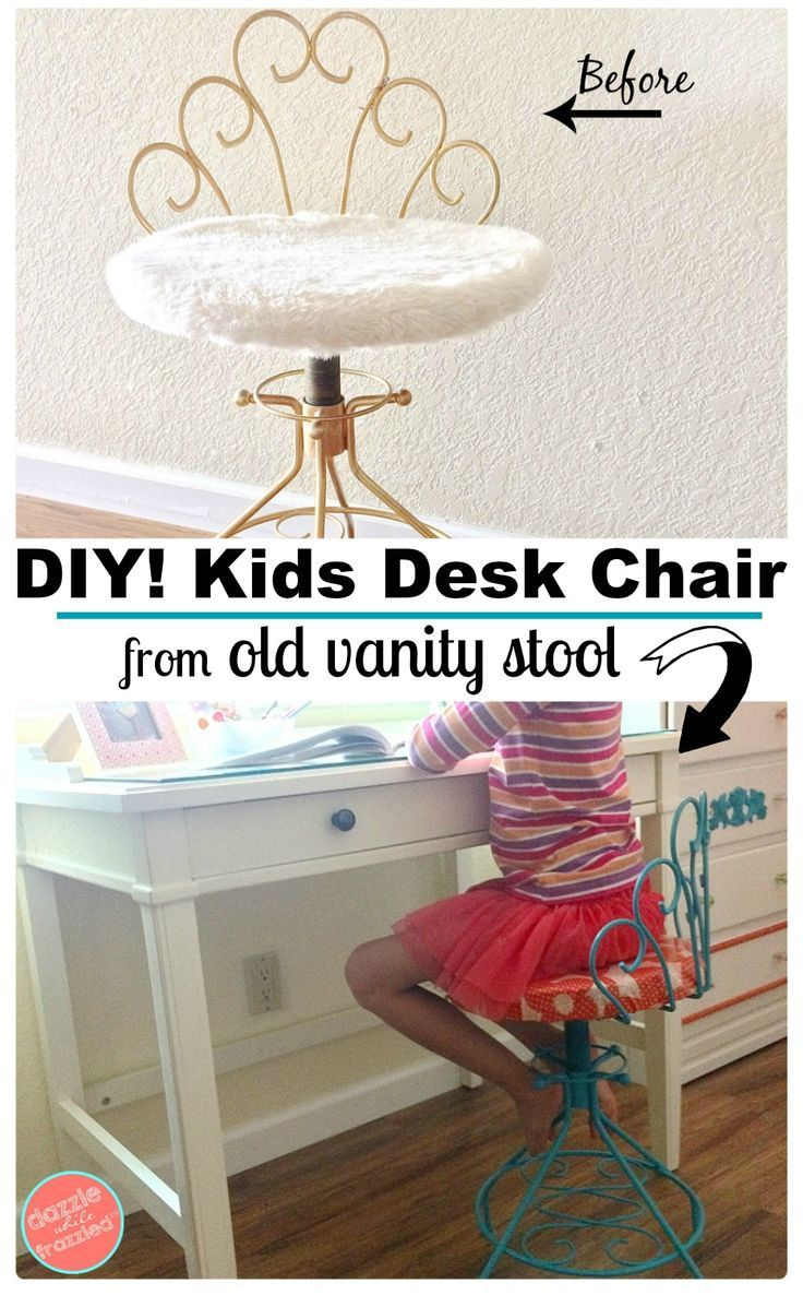 How To Make Cute Desk Chair From Old Vanity Stool Vanity Chair