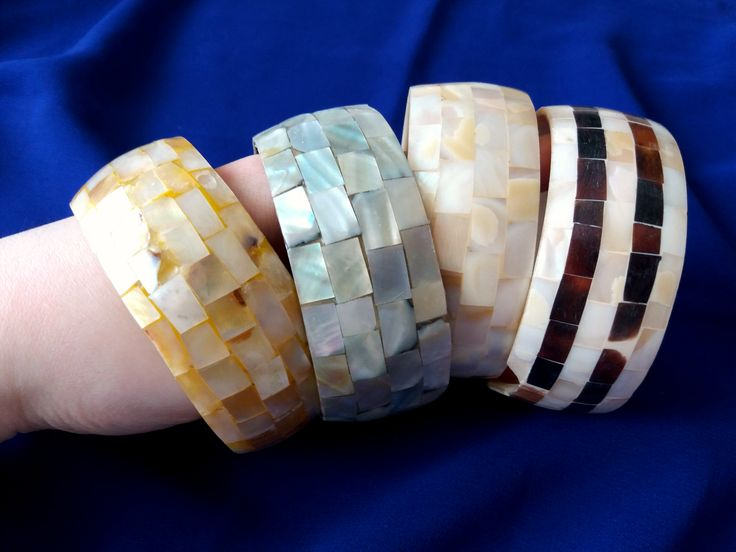 Bracelets made from bone beautifully decorated by shellnuts