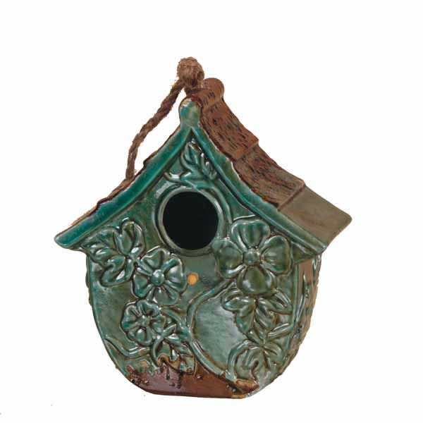 "fancy wooden bird houses   25"" Teal Blue Ceramic Bird House"
