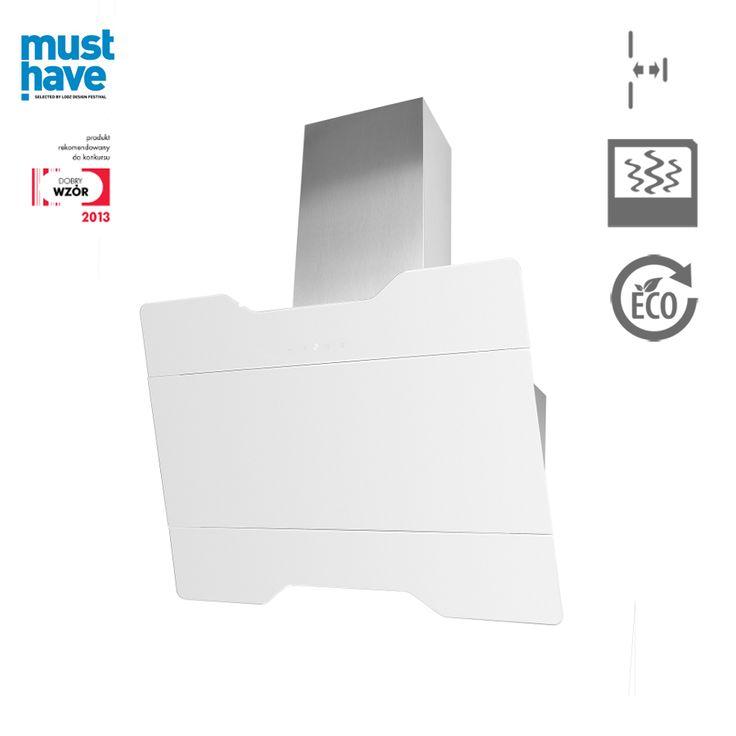 Okap kominowy Ciarko Design Magnus biały http://www.sklep.ciarkodesign.pl/e-sklep/okapy-kominowe/magnus-white-detail #DESIGN #KITCHEN #OKAP #HOOD