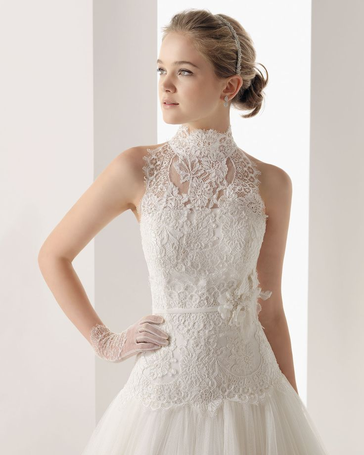 Wedding lace wro tulle high neck chapel train a line for Best wedding dress for wide shoulders