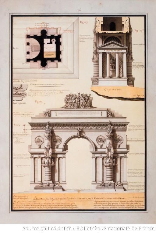 L'arc de triomphe érigé en l'honneur des braves de la patrie. Moitié du plan géométral, Coupe en travers, Détail du chapiteau. Elévation principale du monument. Intérieur du lieu des Assemblées. Jean-Jacques Lequeu (1757-1826).