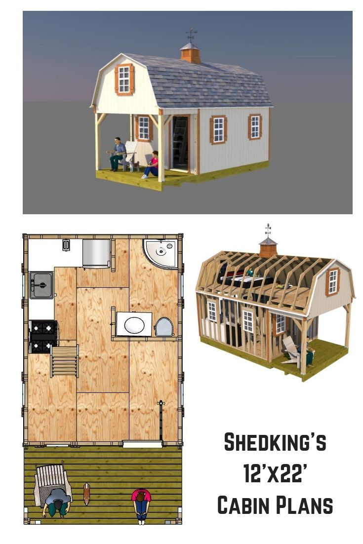 12x22 Barn Shed Plans Tiny Houses Plans With Loft Small Cabin Plans Shed To Tiny House