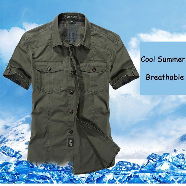 Designer AFSJEEP Outdoor Sport Cotton Breathable Multi Pockets Cargo Short Sleeve Dress Shirts for Men - NewChic