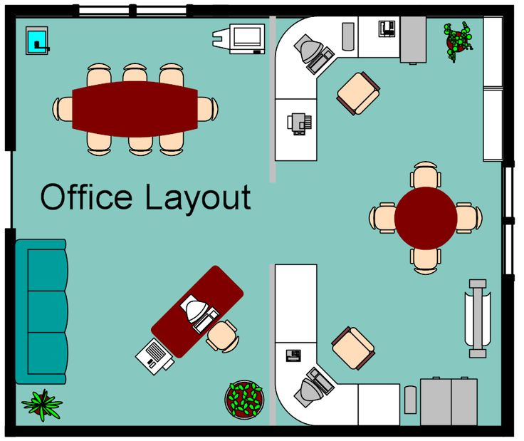Small office layout - Wide U-shaped desk, then shared table in center.