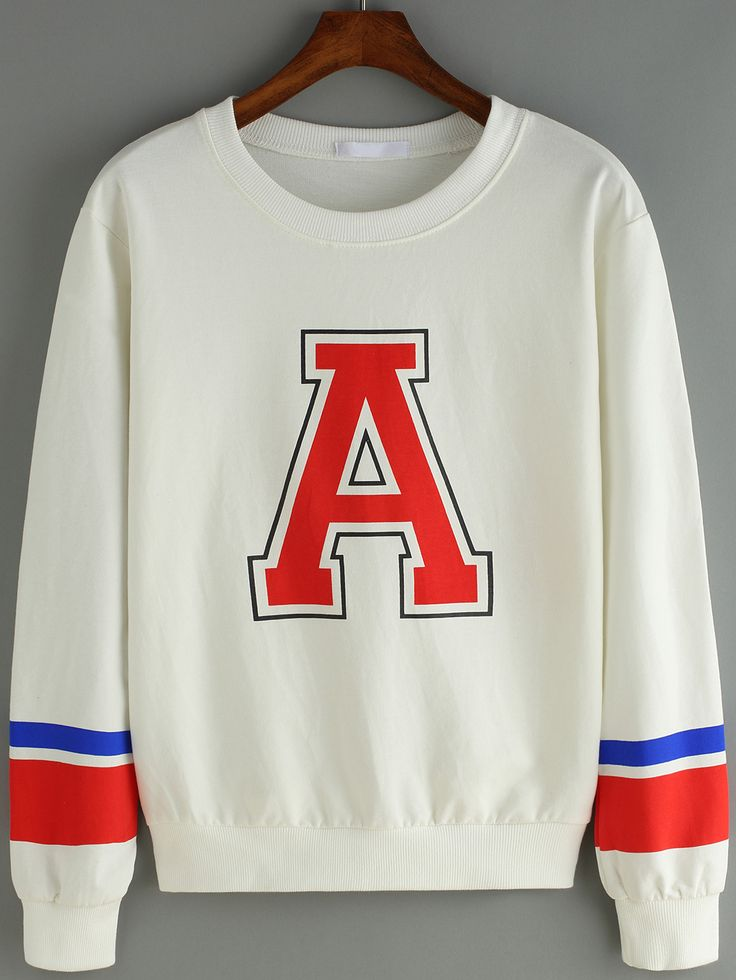 Letter Print Varsity-Striped Sweatshirt