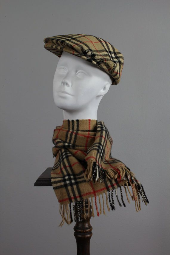 60s Mens Burberry Hat Scarf . News Boy . Winter Plaid  a182afdc037