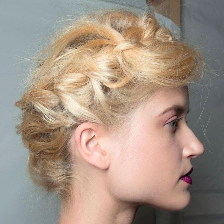 Runway-Inspired Prom Updos for Long Hair - deconstructed milkmaid updo seen at Nicole Miller