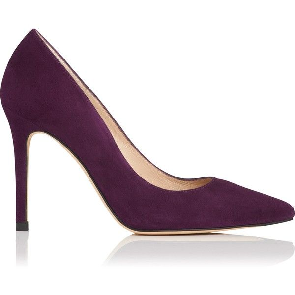 L.K. Bennett Fern Purple Suede Closed Courts ($245) ❤ liked on Polyvore featuring shoes, pumps, pointed toe stilettos, purple pumps, pointy-toe pumps, stiletto pumps and pointed toe pumps