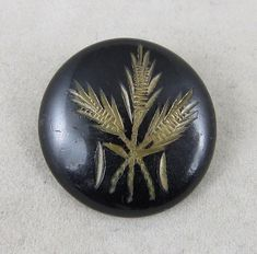 Antique Vintage Victorian Picture Button~ Engraved Wheat Plant on Japanned Brass