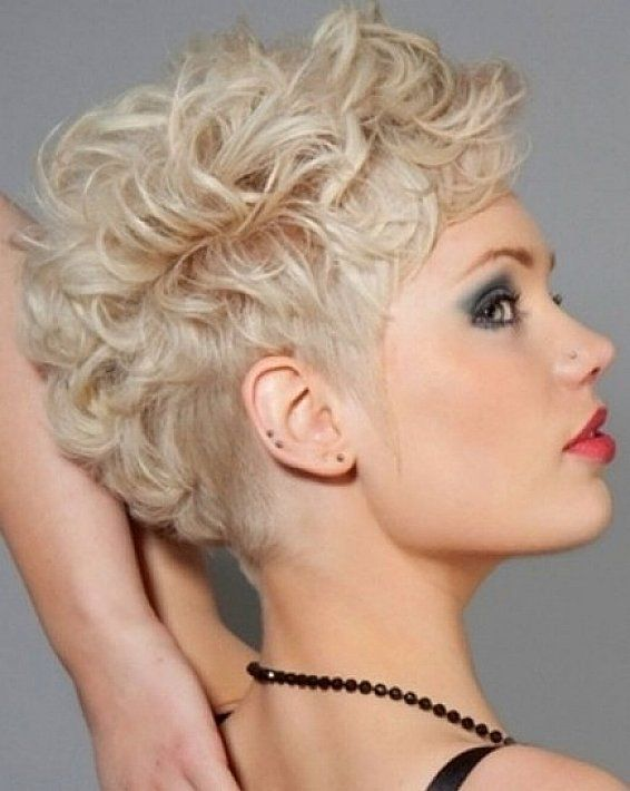 very short hairstyles for curly hair with blonde platinum hair