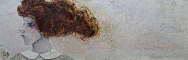 Zéphyr par Christyne Proulx / ©2016/ technique mixte sur bois / 12X60 / figurative, contemporary art, acrylique, art painting, Street Art (Urban Art), Canvas, Women, Portraits, femme, street art, patchwork, peinture, contemporain, abstrait, tableau street art,expressionnisme