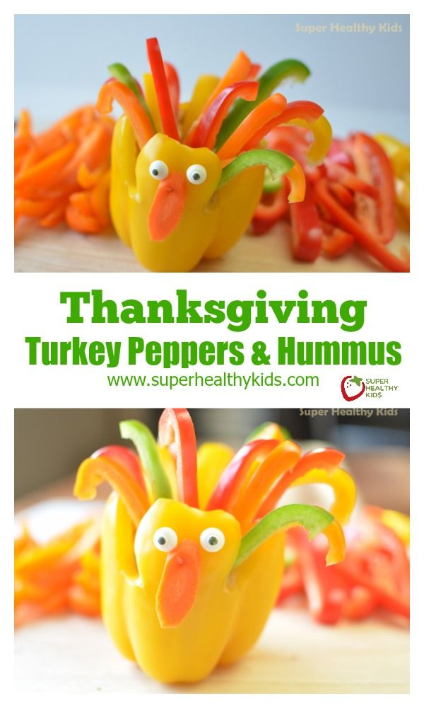 Thanksgiving Turkey Peppers and Hummus - It's never too early to start celebrating Thanksgiving! http://www.superhealthykids.com/thanksgiving-turkey-peppers-and-hummus/