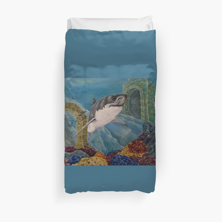 Duvet Cover, bed decor, for sale, home,accessories,bedroom,decor,cool,unique,fancy,artistic,trendy,unusual,awesome,beautiful,modern,fashionable,design,items,products,ideas,blue,turquoise,colorful,shark,wild,animal,ocean,scene,deep,sea,wildlife, redbubble