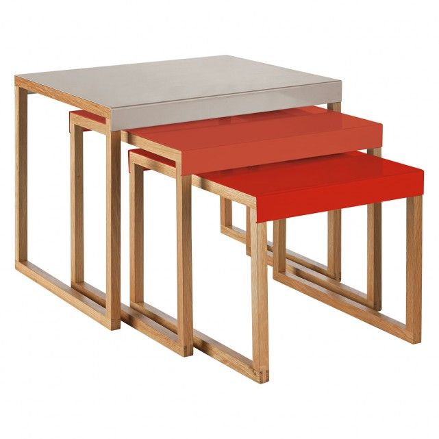 Kilo Red And Grey Metal Nest Of 3 Side Tables In 2019