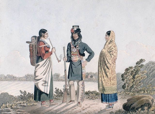 A Metis man and his two wives.  1825-1826  Artist: Rindisbacher, Peter, 1806-1834.
