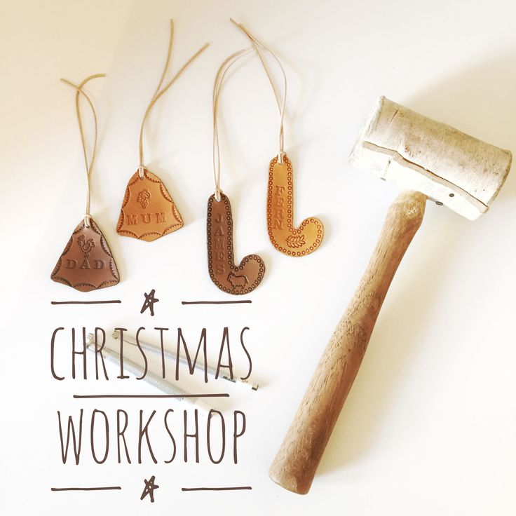 DIY workshop this Christmas! Make your own leather gift tags and Christmas decorations. November 27th at Brick and Mortar Creative Retail Hub, Norwood, SA.  Visit www.bethnewton.com for details.  #leather #diy #handmade #workshop #christmas #decoration #gifttags #creative #gift #christmasworkshop #adelaideworkshop