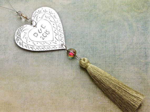 Our First Christmas Ornament Married, Personalised Christmas Decoration, Hanging Metal Heart Decor, Gold Tassel