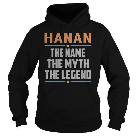 Awesome Tee HANAN The Myth, Legend - Last Name, Surname T-Shirt T-Shirts