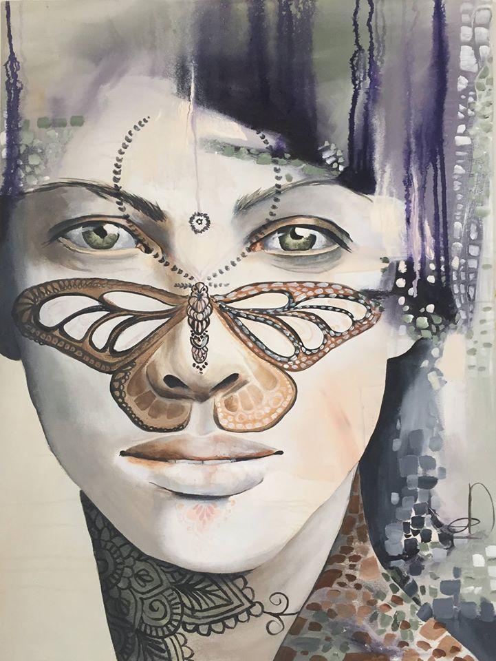 """""""Moth"""" 60X80 Cm. Acrylic on canvas Made by Naja Duarte"""
