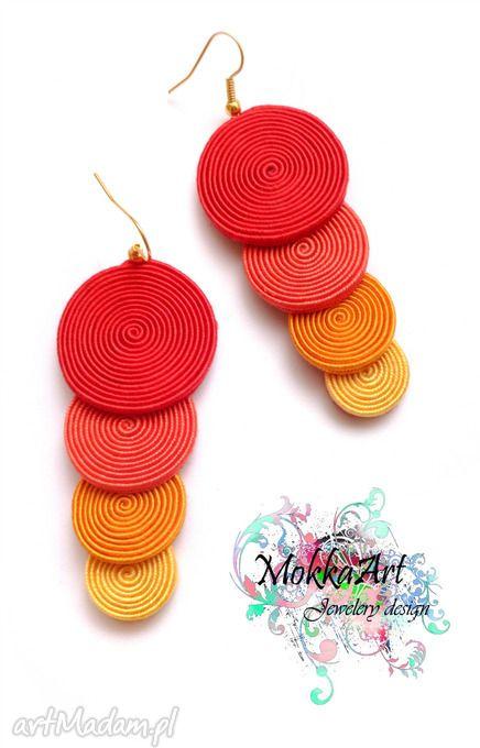 Kolczyki sutasz sunspiral mokkaa soutache sutaż handmade