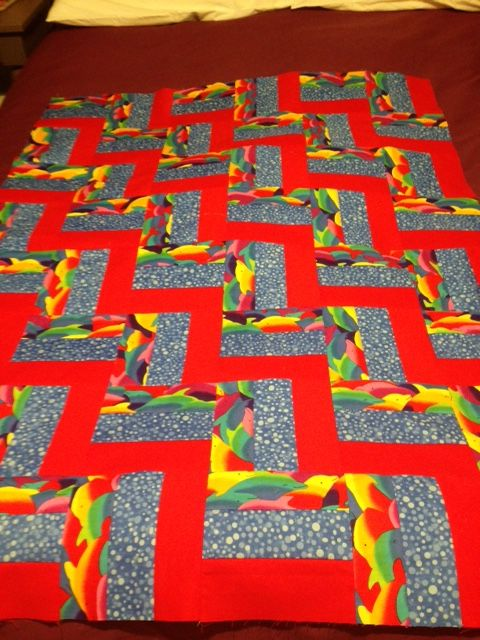 Dolphin rail fence quilt for Project Linus - January 2016.