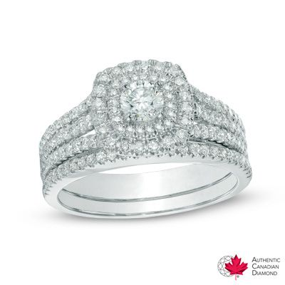 0.95 CT. T.W. Certified Canadian Diamond Double Square Frame Bridal Set in 14K White Gold (H-I/I2)