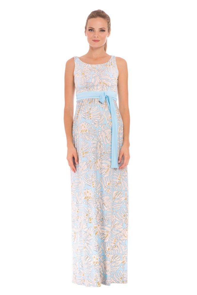 Sasha Maxi Maternity Dress in Blue & Ivory Leaf Print