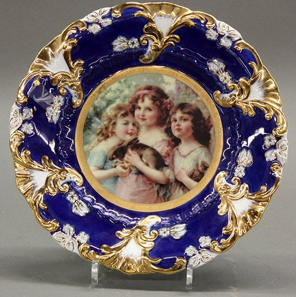 Royal vienna style porcelain portrait plate limoges and for Alpine cuisine fine porcelain