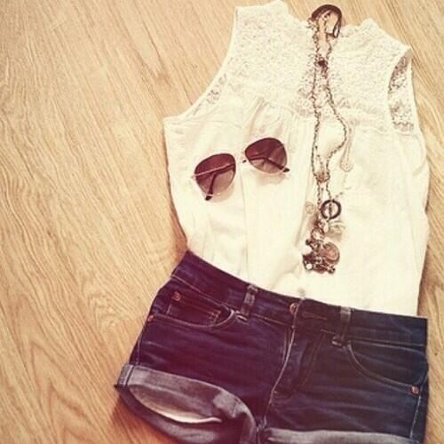Cute Teen Fashion News Tumblr Sunglasses Summer Shorts Loose White Tanktop My Style