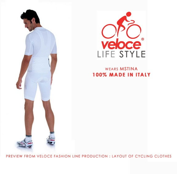 Veloce wears MSTINA. Preview from Veloce fashion line production : layout of cycling clothes production. 100% Made in Italy (concept, design manpower and materials). http://www.velocecorporate.com