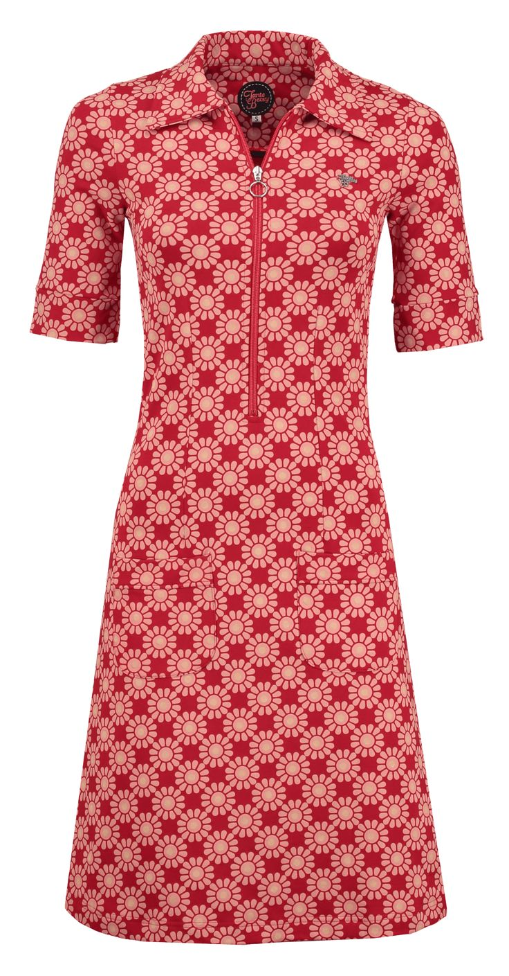 Tante Betsy zippie sunny print dress red jurk zon print rood