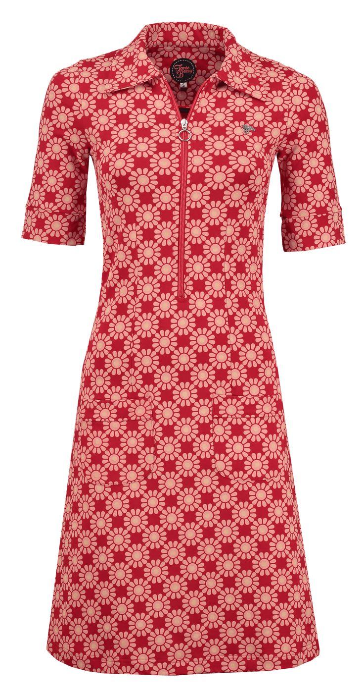 Tante Betsy zippie sunny print dress red jurk zon print rood