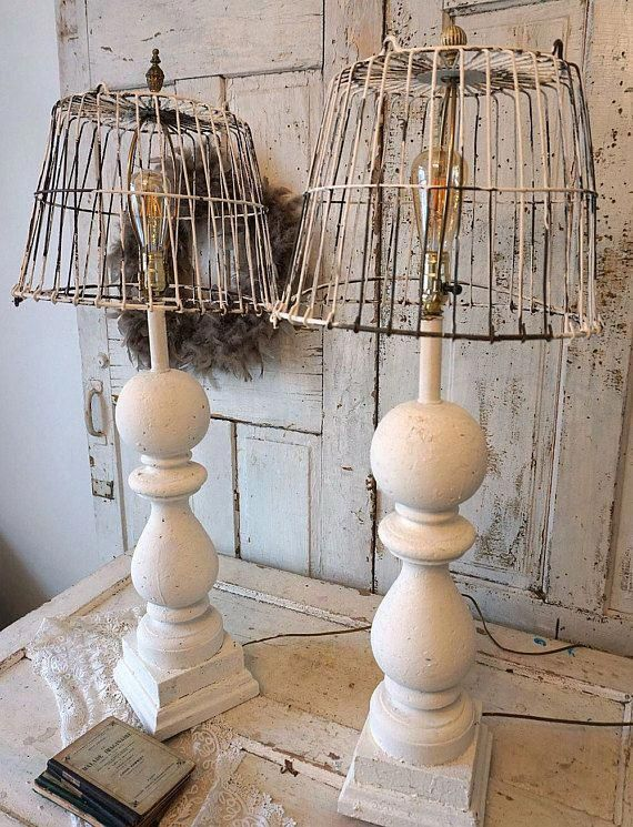 Baluster Style Wood Table Lamps With Rusted Wire Basket Shades Shabbychiclamp Farmhouse Lampshade Farmhouse Lamps Rustic Lamps